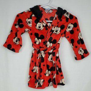 Disney Mickey Mouse Robe Red Black Bathrobe Plush